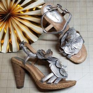 Born Crown T-Strap Silver Heels size 6